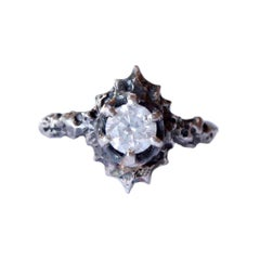 Opalescent White Diamond Vintage Inspired Solitaire Ring in White Gold