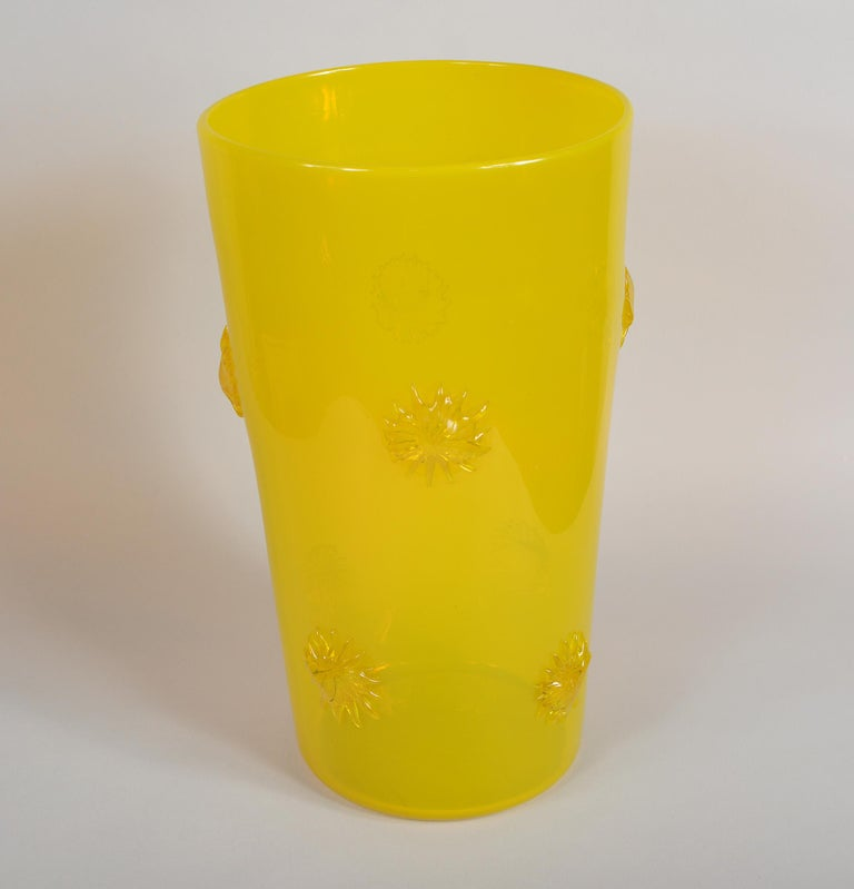 Mid-Century Modern Opalescent Yellow Empoli Italian Vase with Applied Starbursts For Sale