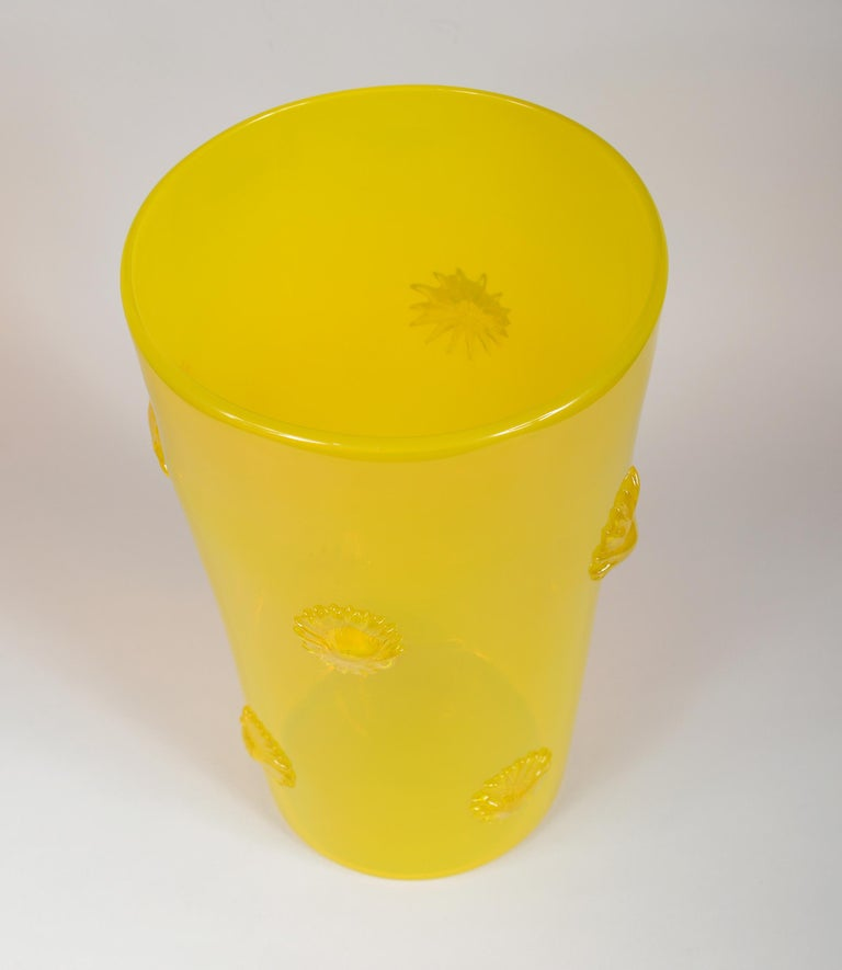 Art Glass Opalescent Yellow Empoli Italian Vase with Applied Starbursts For Sale