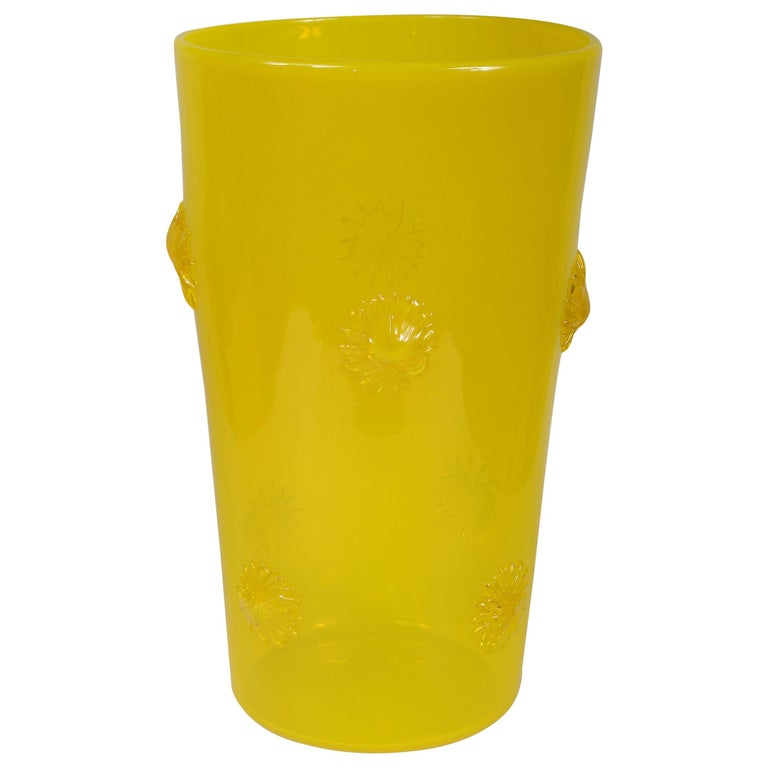 Opalescent Yellow Empoli Italian Vase with Applied Starbursts For Sale