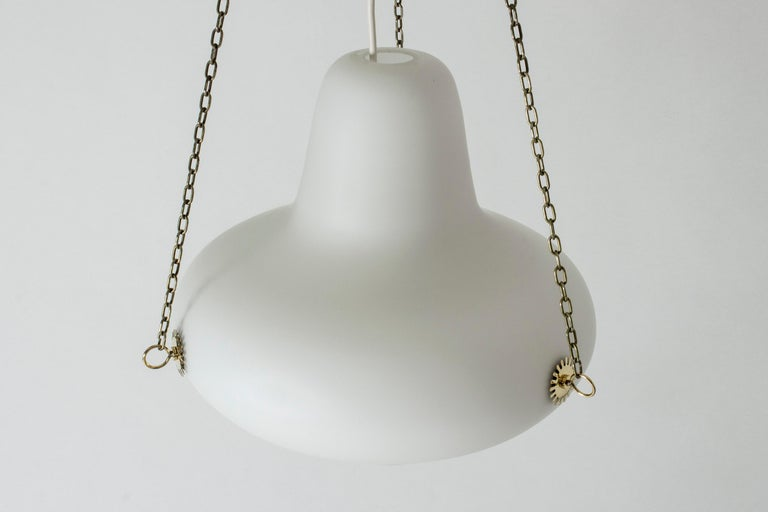 Scandinavian Modern Opaline and Brass Ceiling Lamp by Carl-Axel Acking For Sale