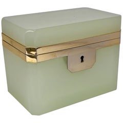Celadon Opaline Glass Box with Gilt Frame & Key, France