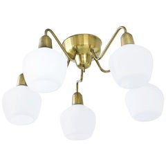 Opaline Glass and Brass Ceiling Lamp by Hans Bergström for Ateljé Lyktan