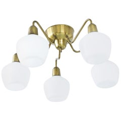Opaline Glass and Brass Ceiling Lamp by Hans Bergström