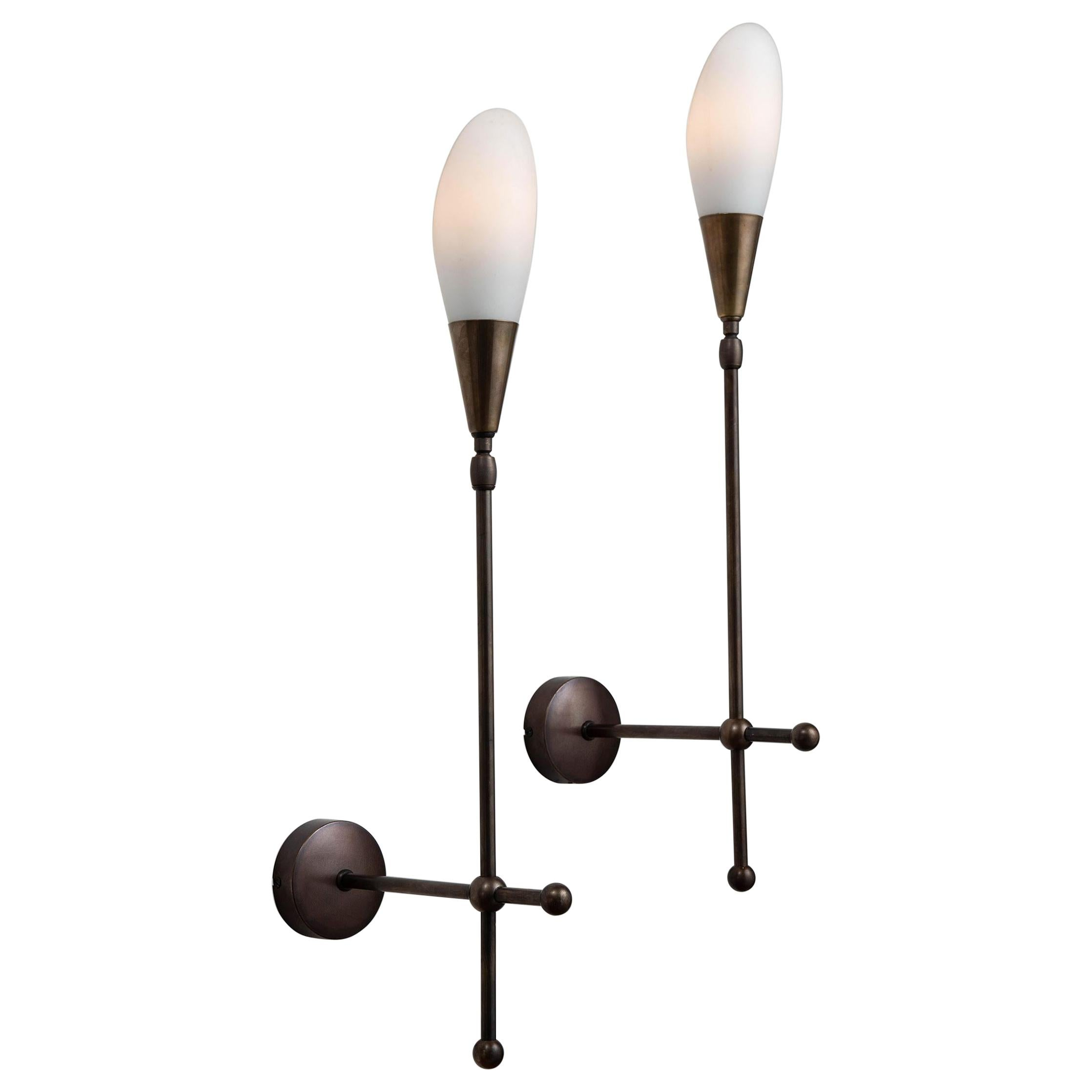 Opaline Glass and Brass Sconce