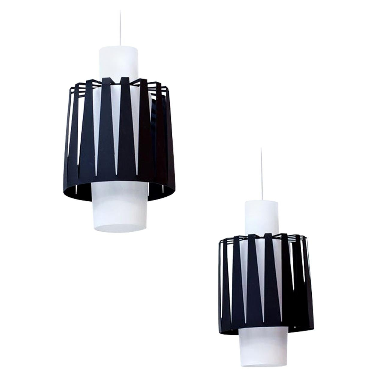 Opaline Glass and Metal Pendant Lamps by ASEA, Sweden, 1950s