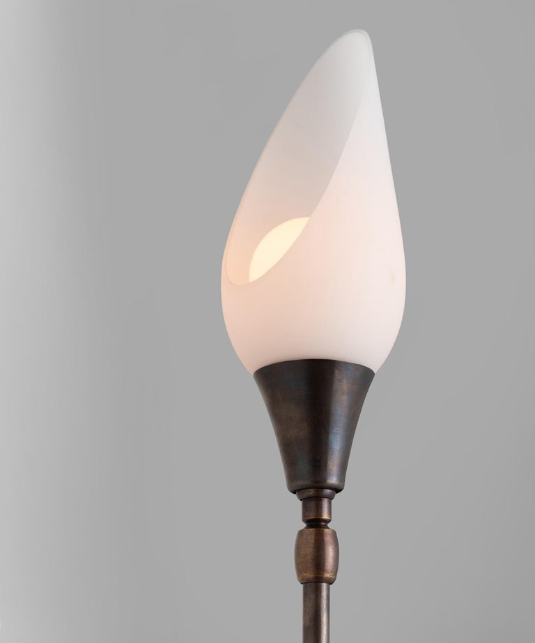 Italian Opaline Glass and Brass Sconce For Sale