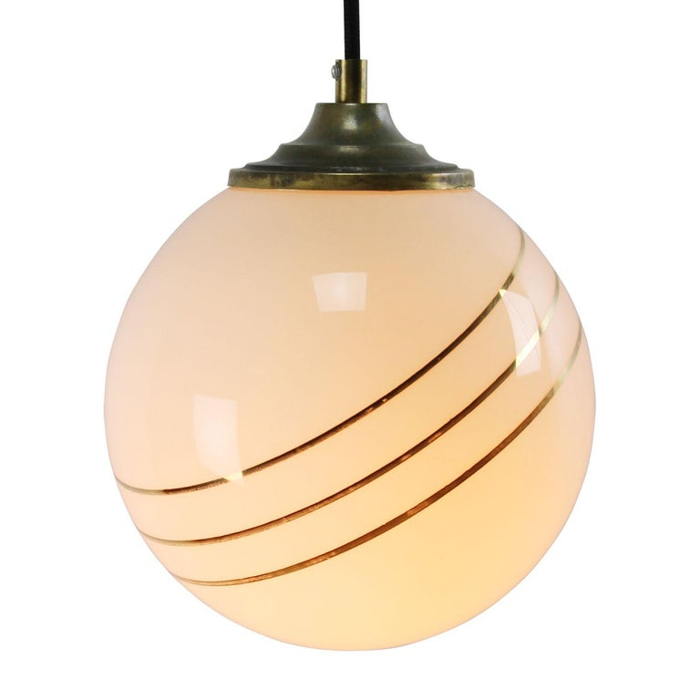 Opaline glass, 3 gold stripes globe glass pendant.  Weight: 2.00 kg / 4.4 lb  Priced per individual item. All lamps have been made suitable by international standards for incandescent light bulbs, energy-efficient and LED bulbs. E26/E27 bulb