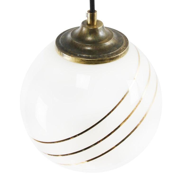 Mid-Century Modern Opaline Glass Gold Striped Vintage European Globe Brass Top Pendant Lights For Sale