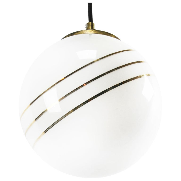 Dutch Opaline Glass Gold Striped Vintage European Globe Brass Top Pendant Lights For Sale