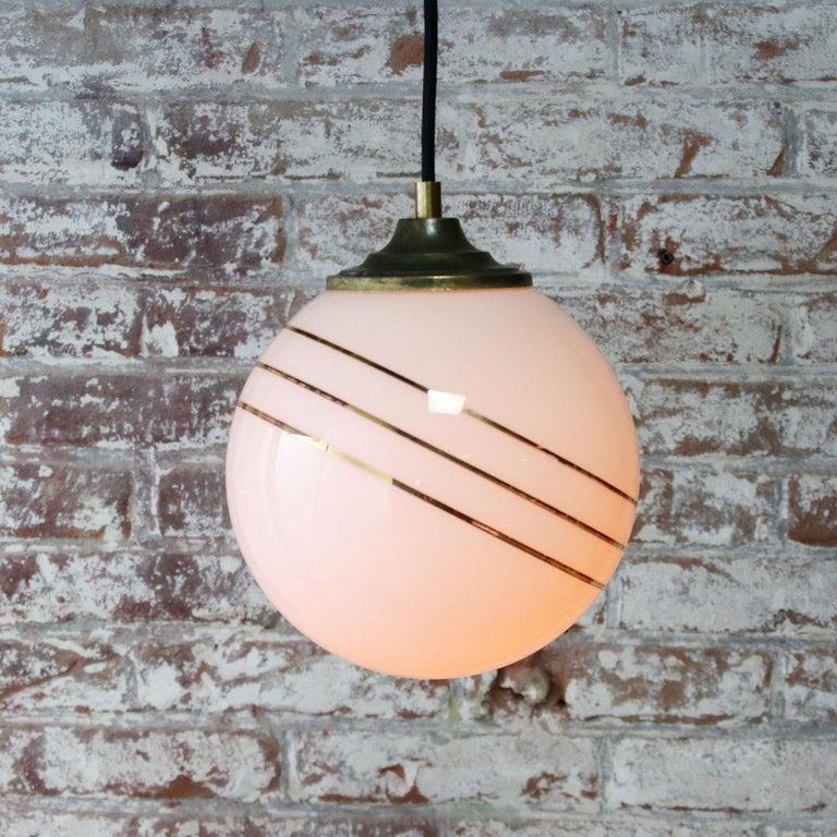 Opaline Glass Gold Striped Vintage European Globe Brass Top Pendant Lights For Sale 1