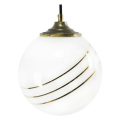 Opaline Glass Gold Striped Vintage European Globe Brass Top Pendant Lights