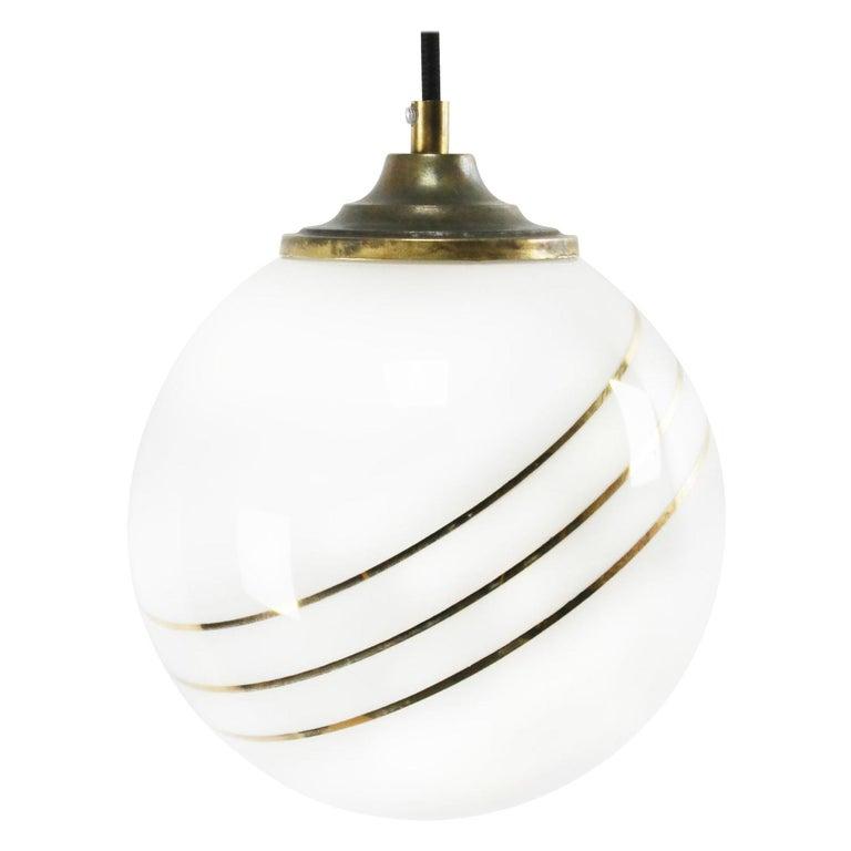Opaline Glass Gold Striped Vintage European Globe Brass Top Pendant Lights For Sale