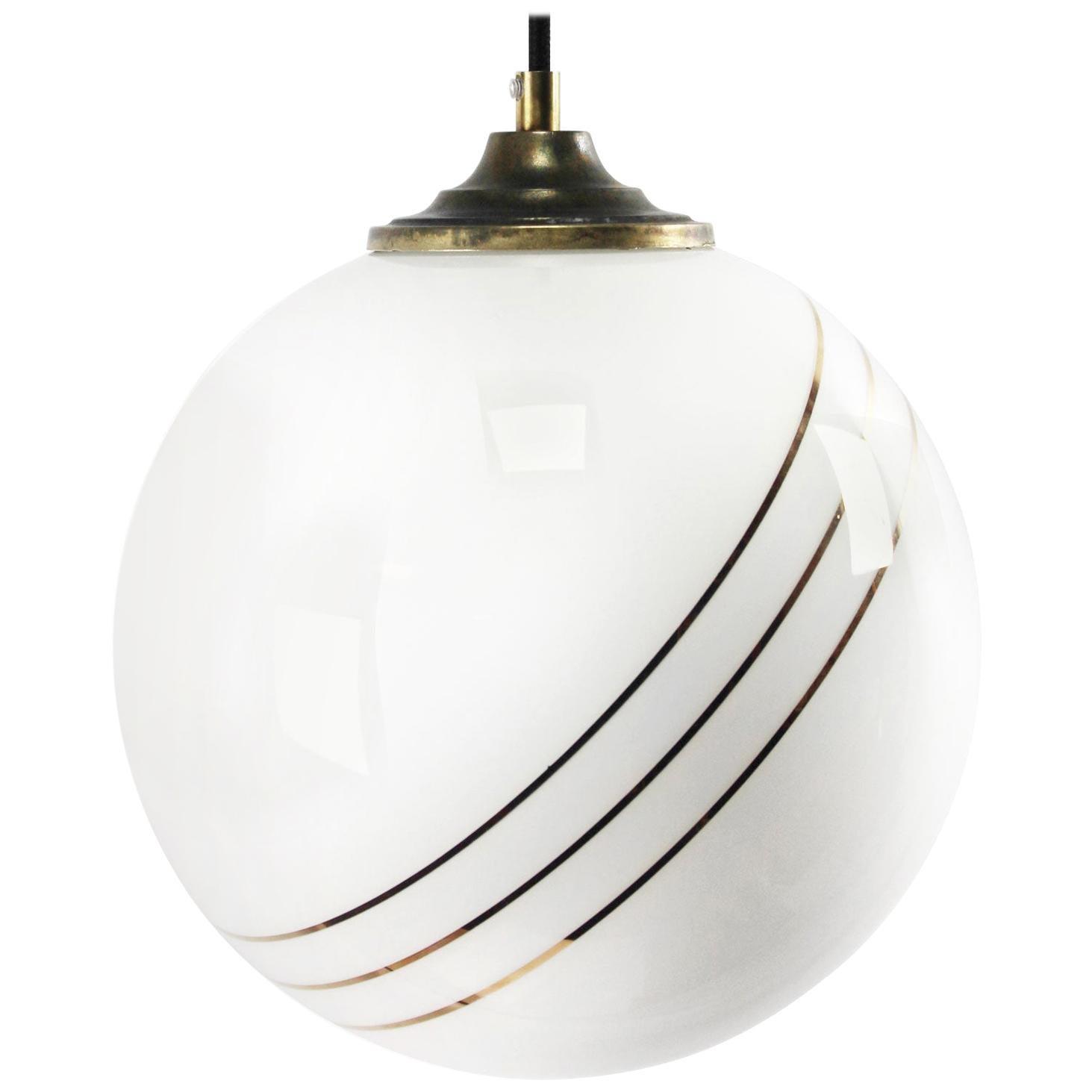 Opaline Glass Gold Striped Vintage European Globe Brass Top Pendant Lights