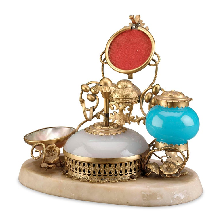 Unknown Opaline Glass Perfume with Inkwell and Bell Push For Sale