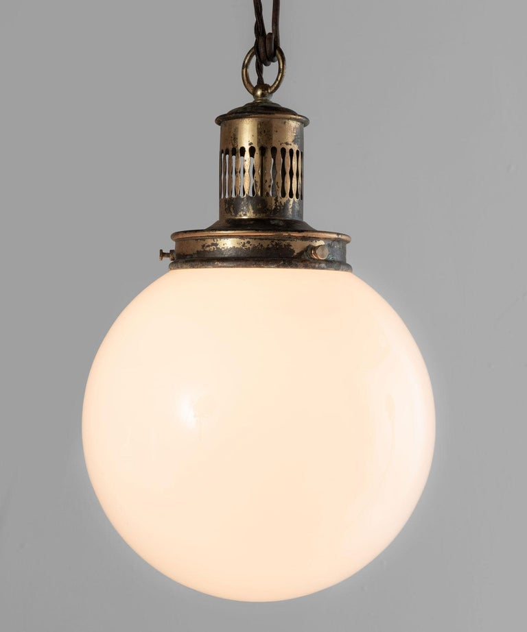 French Opaline Suspension Lamps