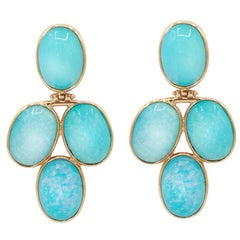 Opalite 18 Karat Yellow Gold Earrings