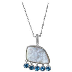 Stephen Dweck Opalized Druzy, Blue Topaz Faceted Gemstone Necklace