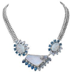 Stephen Dweck Opalized Druzy, Rock Crystal, & Blue Topaz Choker Necklace