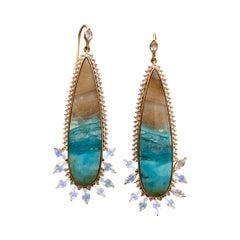 Opalized Wood, Rainbow Moonstone, Sapphire, 18kt Gold Earrings by Lauren Harper