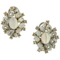 Opals, Diamonds, 14 Karat White Gold Stud Earrings
