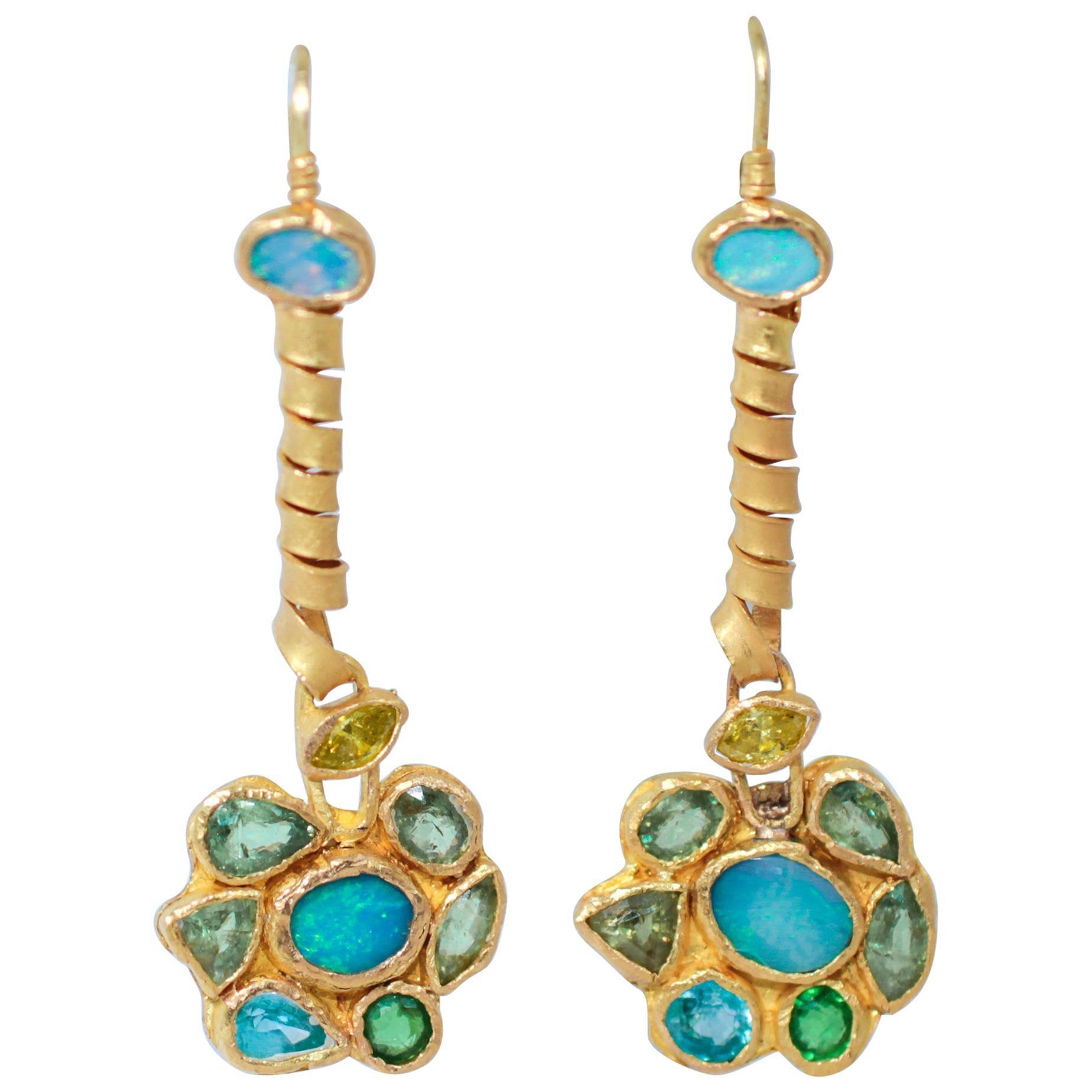 Opals Diamonds Demantoid Garnets 22-21 Karat Gold Dangle Drop Organic Earrings