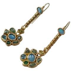 Opals Diamonds Demantoid Garnets 22k-21k Gold Dangle Drop Organic Earrings