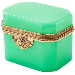 Opaque Green Glass Box with Ormolu Mounts, Bohemian, circa 1900