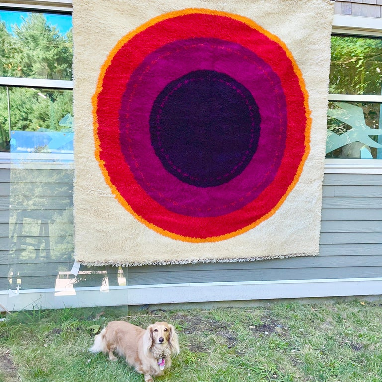OpArt Danish Rya Bullseye Rug For Sale 9