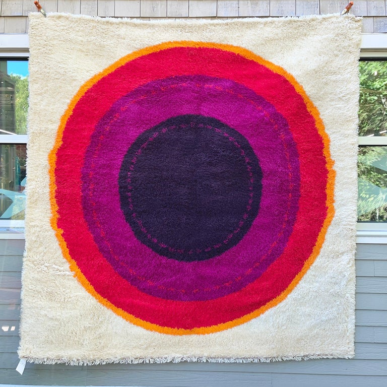 Vintage square Danish Rya rug, 100% wool, produced in the 1960's but never used.  Has been kept rolled and wrapped in storage for over 50 years. Your feet will be the very first to walk on it. Produced in Denmark by Hojer Eksport Wilton. Design