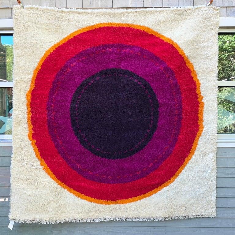 Wool OpArt Danish Rya Bullseye Rug For Sale