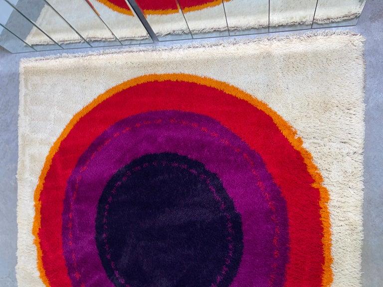 OpArt Danish Rya Bullseye Rug For Sale 3