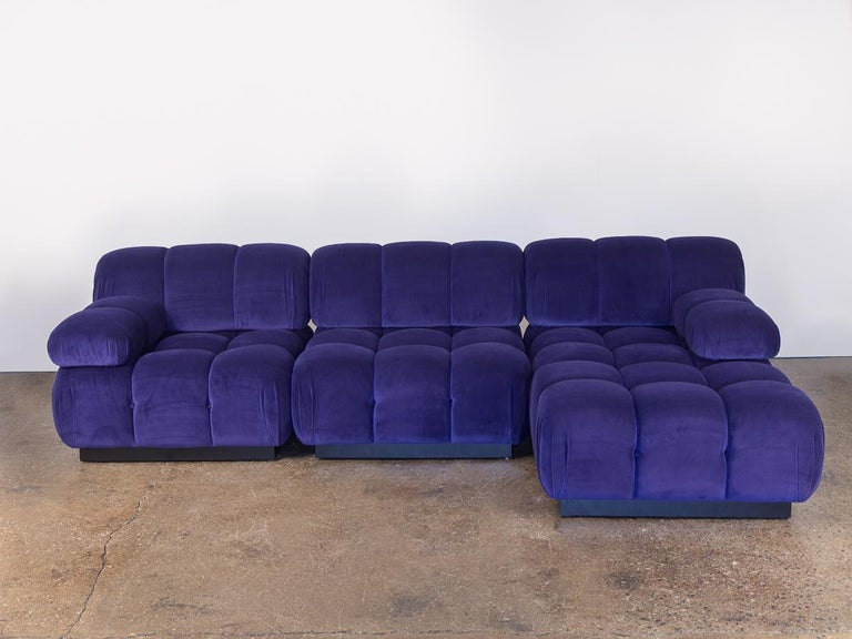 Open Air Modern Purple Blue Velvet Custom Modular Tufted