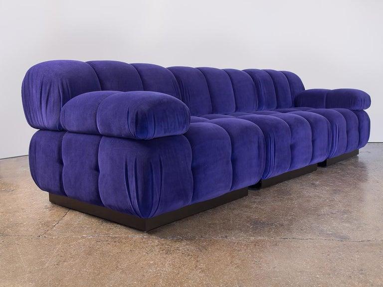 Open Air Modern Purple Blue Velvet Custom Modular Tufted