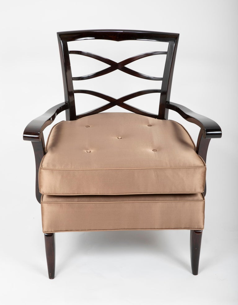 French Open Armchair in the Manner of Jules Leleu For Sale