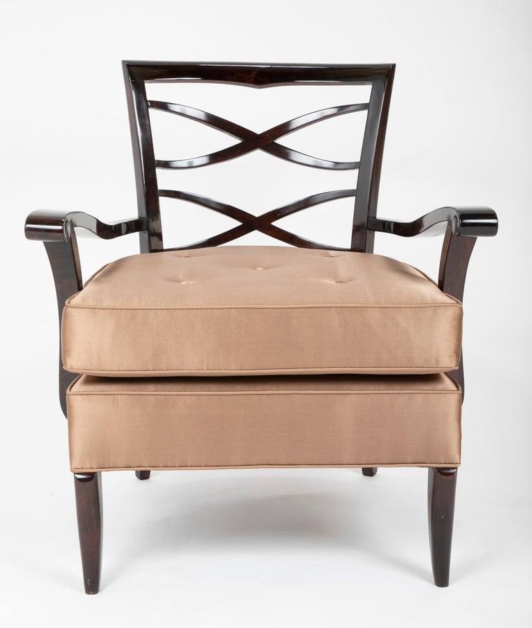 Stained Open Armchair in the Manner of Jules Leleu For Sale