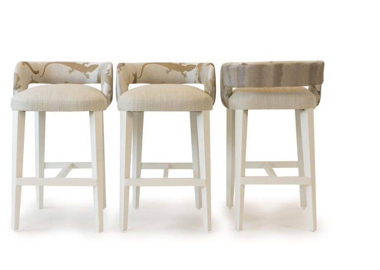 Modern Open Back Bar or Counter Stool For Sale