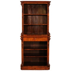 Open Bookcase in Burl Walnut from the 19th Century
