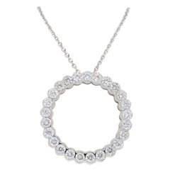 Open Circle Diamond Pendant Necklace in 18 Karat White Gold
