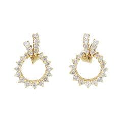 Open Circle Omega Back Diamond Earrings