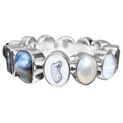 Stephen Dweck Open & Close Assorted Gemstone & Pearl Bezel Set Bangle