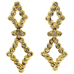 Open Diamond Drop 1.20 Carat Total Diamond Earrings in 18 Karat Yellow Gold