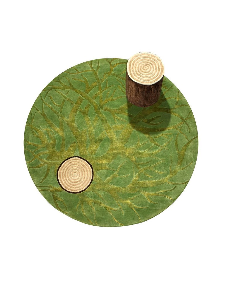 This round rug in a Mexican contemporary design, woven by Odabashian's network of family-owned weavers near Mirzapur, India with the finest New Zealand wool. The design was created by renowned Mexican designer Ariel Rojo for the 2011 exhibition