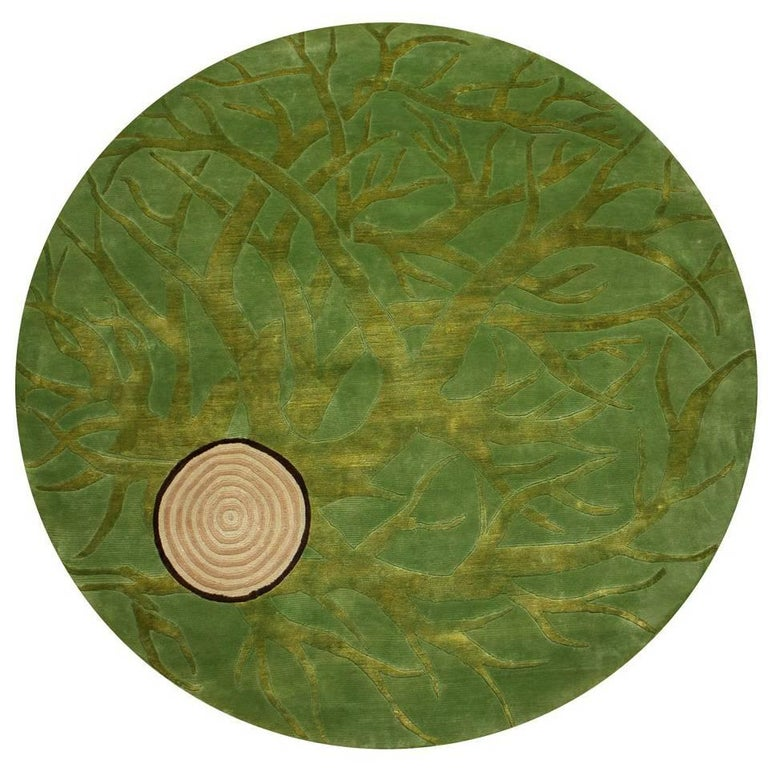 Contemporary Round Rug in Wool by Mexican Designer Ariel Rojo For Sale