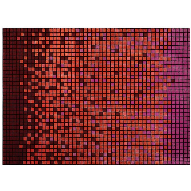 Contemporary Rug in Wool and Silk by Mexican Designer Joel Escalona For Sale