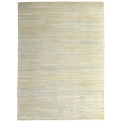 Open Field Modern Rug Beige with Blue Silk Texture of Color by Rug & Kilim