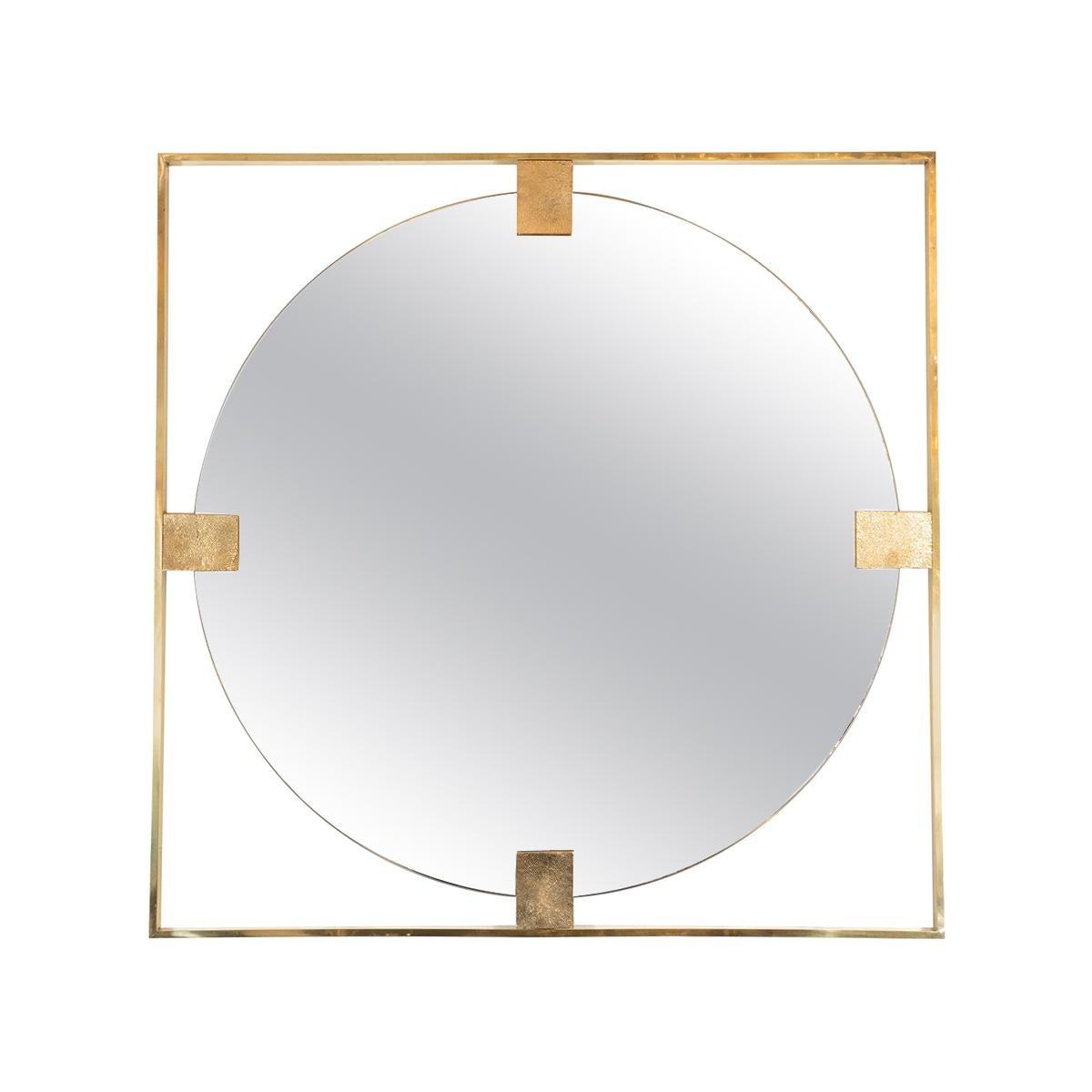 Open Frame Brass Mirror
