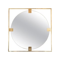 Open Frame Brass Mirror