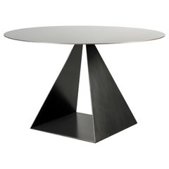 Geometric Triangle Round Top Metal Dining Table Blackened Finish customizable