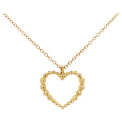Open Heart Necklace, 14 Karat Yellow Gold Heart Necklace Pendant, NK6561Y4JJJ